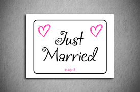 Just married number plate square