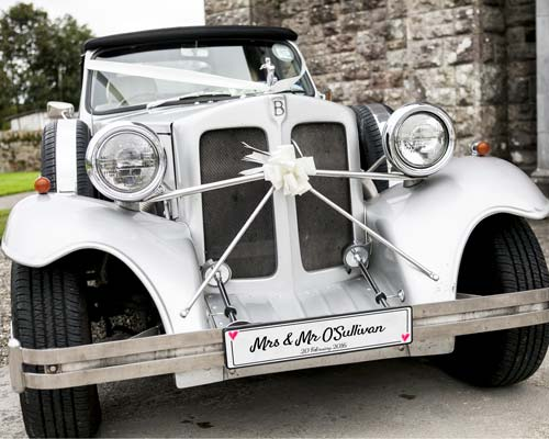 White car big with number plate & Personalised wedding number plates - Printpoint.ie