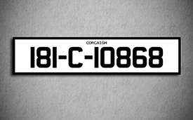 Car Show Number Plate Long white 3