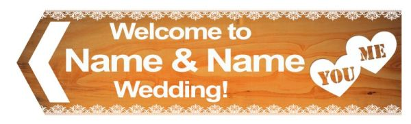 Wedding road sign wooden style bright Template #17 Left