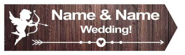 Wedding road sign wooden style dark Template #18 Right