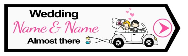 Wedding road sign cartoon style car Template #20 Right