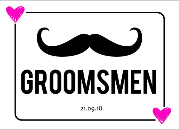 Groomsmen wedding car plate template 2