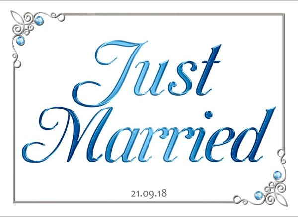 Just Married wedding number plate 16