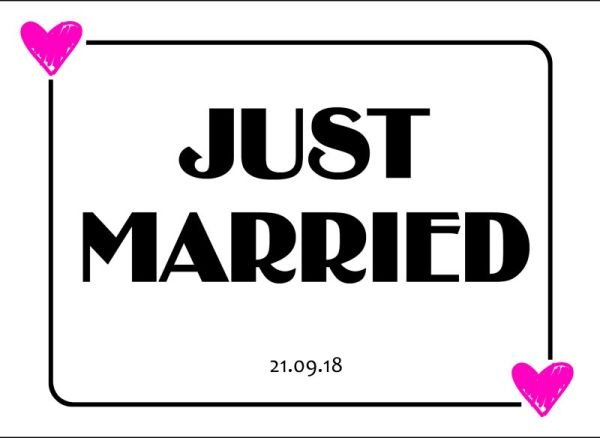 Just Married wedding number plate 11