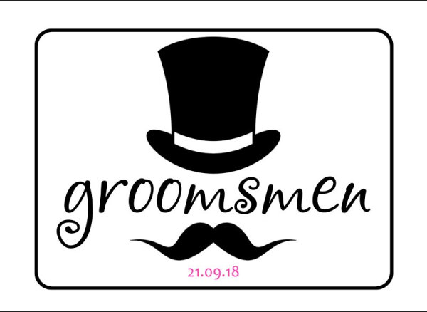 Groomsmen wedding car plate template 4