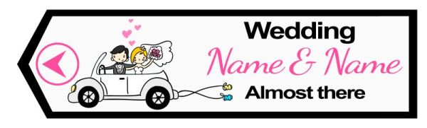 Wedding road sign cartoon style car Template #20 Left