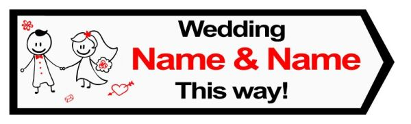 Wedding road sign cartoon style Template #19 Right
