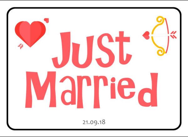 Just Married wedding number plate 15
