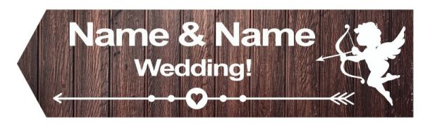 Wedding road sign wooden style dark Template #18 Left