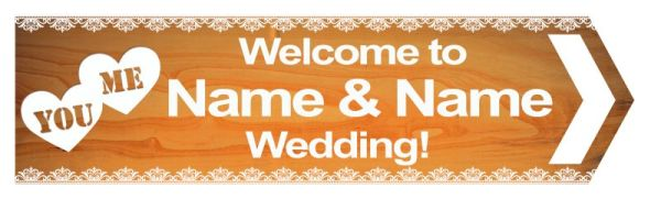 Wedding road sign wooden style bright Template #17 Right