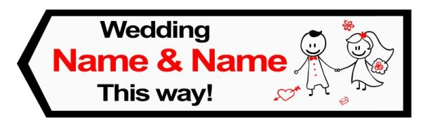 Wedding road sign cartoon style Template #19 Left