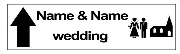 Personalised church wedding direction sign