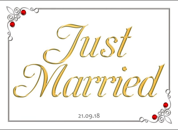 Just Married wedding number plate 17